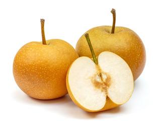 Organic nashi pears isolated on white background