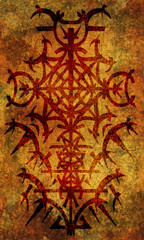 Back cover design of tarot card. Red gothic pattern on old paper background. Esoteric, occult and Halloween concept, illustration with mystic symbols