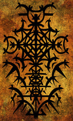 Back cover design of tarot card. Black gothic pattern on old paper texture. Esoteric, occult and Halloween concept, illustration with mystic symbols
