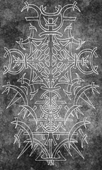 Back cover design of tarot card. White gothic pattern on gray texture background. Esoteric, occult and Halloween concept, illustration with mystic symbols