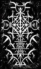 Back cover design of tarot card. Gothic pattern on black grunge background. Esoteric, occult and Halloween concept, illustration with mystic symbols