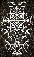 Back cover design of tarot card. Gothic pattern on lined cosmic background. Esoteric, occult and Halloween concept, illustration with mystic symbols
