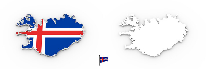 3D map of Iceland white silhouette and flag