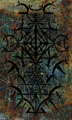 Back cover design of tarot card. Black gothic pattern on mysterious texture background. Esoteric, occult and Halloween concept, illustration with mystic symbols