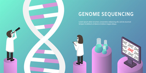 Isometric genome engineering and sequencing concept. Scientific research, nanotechnology concept with characters. Isometric dna poster, banner. Vector illustration eps10