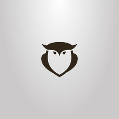 black and white simple vector outline sign of owl bird shape