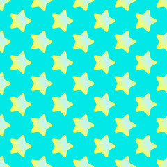 Vector seamless pattern of  jelly stars on blue background.