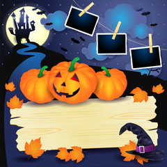 Halloween background with pumpkins, sign and photo frames