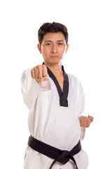 Frontal straight punch portrait