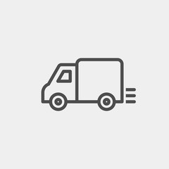 Shipping flat vector icon. Truck flat vector icon