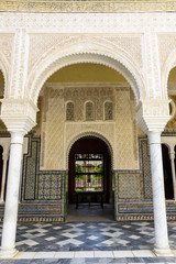 details of the courtyard of Pilatos' house in Seville, Andalucia, Spain.