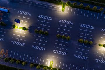 Top down view of car park at night