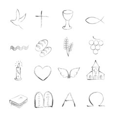 Isolated christian symboly outline icons