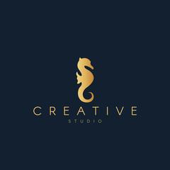 Seahorse logo. Seahorse silhouette. Trendy animal logo design