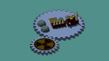 3D illustration of cogs, of the gear with sign of radiation and the plant. The idea of nuclear power development and economic growth. 3D rendering