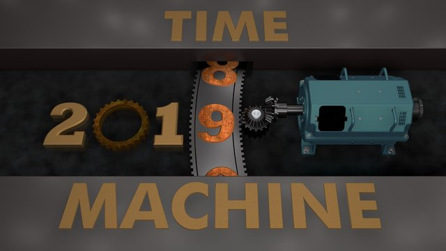 3D illustration of an electric motor that rotates the gear with gears and planetary gear and moves the date 2019. The idea of a time machine. 3D rendering