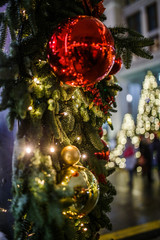 Picture of new year of decorated fir trees on blurred background