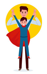 Kid boy playing superman with father. Cartoon vector flat illustration on white background.