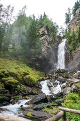 Idyllic waterfall, South Tyrol, Rabbi valley, Italy