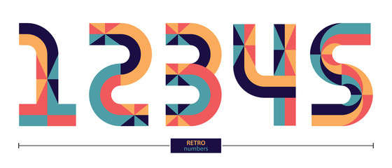 Numbers Retro style in a set 12345 Wall mural