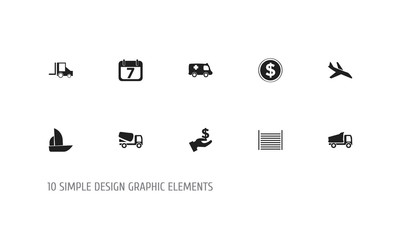 Set of 10 editable complicated icons. Includes symbols such as truck, aircraft, van and more. Can be used for web, mobile, UI and infographic design.