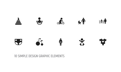 Set of 10 editable baby icons. Includes symbols such as diaper, wheels, pregnant woman and more. Can be used for web, mobile, UI and infographic design.