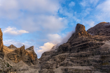 Idyllic Alpenglow in Adamello Brenta National Park, South Tyrol / Italy