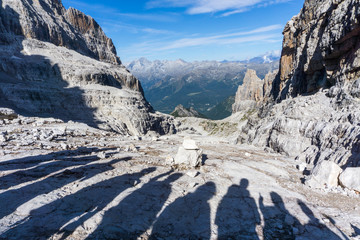 Idyllic view of Adamello Brenta National Park with shadows of hikers, Bocca di Tuckett, South Tyrol / ItalyIdyllic view of Adamello Brenta National Park, Bocca di Tuckett, South Tyrol / Italy
