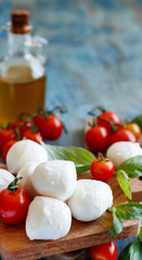 Italian cheese mozzarella with tomatoes, basil and olive oil