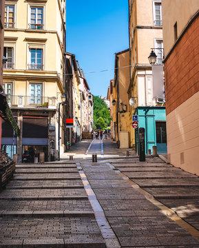 View of Les pentes de la Croix-Rousse slope street Lyon France