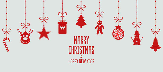 Merry christmas and new year  red ornament elements. Christmas decoration. Vector. Christmas card with decoration.