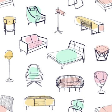 Seamless pattern with various cozy furniture drawn with contour lines and colored stains on white background. Backdrop with sofa, armchair, chair, bed, nightstand. Vector illustration for wallpaper.