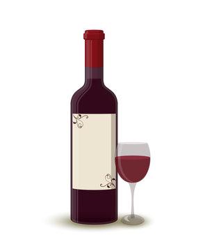 Vector cartoon wine bottle with wineglass, label