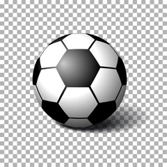 Realistic Soccer ball on transparent background. Isolated vector illustration on transparent background.