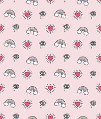 rainbow heart vector seamless pattern