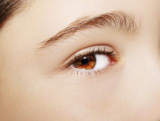 A beautiful insightful look girl's eye. Close up shot.