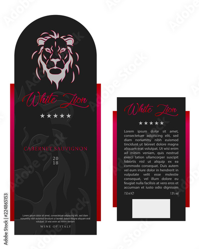 Front And Rear Of Modern Wine Label Template Stock Image And