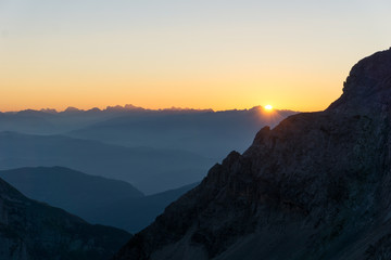 Idyllic sunrise in Adamello Brenta National Park, South Tyrol / Italy
