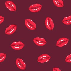 Seamless pattern with plump women's lips on dark background. Backdrop with smiling female mouths. Texture with symbols of love and desire. Vector illustration for textile print, wrapping paper.