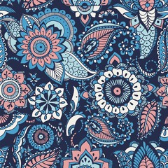 Turkish paisley seamless pattern with buta motifs and Arabic floral mehndi elements on blue background. Colorful decorative vector illustration for fabric print, wallpaper, wrapping paper, backdrop.