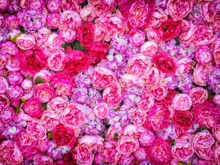 Beautiful background of artificial pink peonies. Wedding festive decoration. Floral rose background. Pink flowers background