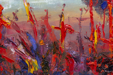 Oil Painting palette knife - Cross in red blood, fear, execution, death, murder, anxiety - modern impressionism