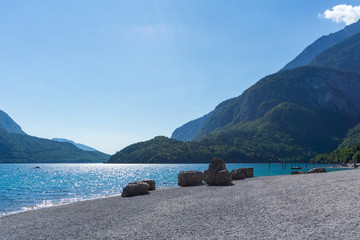 Idyllic view of Lago di Molveno, South Tyrol / Italy
