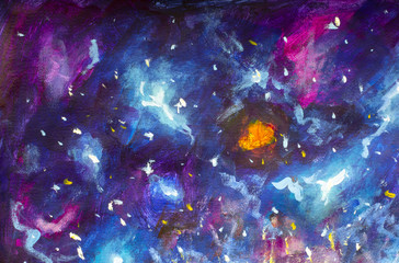 Oil painting on canvas. Blue-violet cosmos, the universe, star galaxies. Modern art. Hand-drawn art.