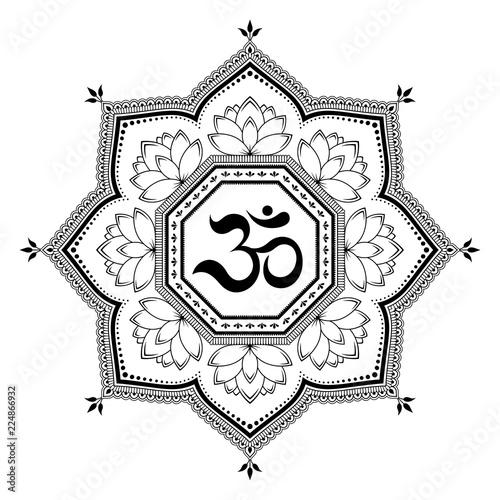 Circular pattern in form of mandala with ancient Hindu