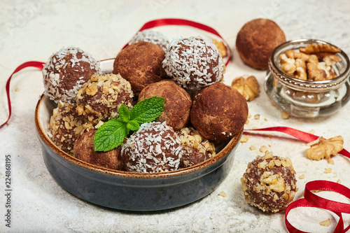 Delicious chocolate truffles  Biscuit cakes in a shape of