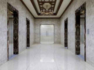 Elevator corridor in the luxury hotel lobby