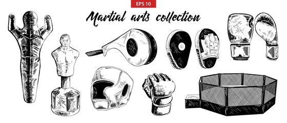 Vector engraved style illustration for posters, decoration. Hand drawn sketch of mixed martial arts and boxing set isolated on white background. Detailed vintage etching drawing.