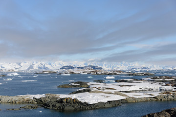 Antarctic landscape with mountains and islands