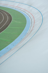 high angle view of empty velodrome geometric background